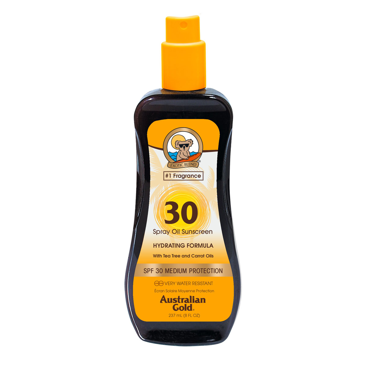 AUSTRALIAN GOLD SPF 30 Spray Oil with Tea Tree and Carrot Oils 237 ml